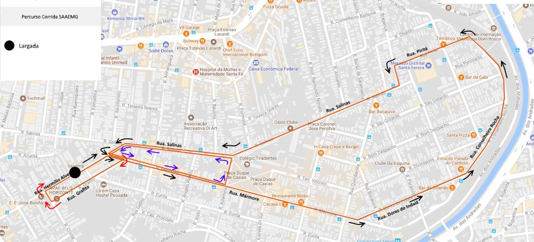 2ª Corrida SAAEMG - Percurso