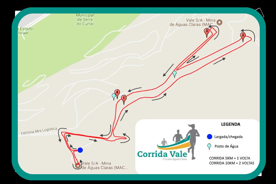 Corrida da Vale - Circuito Águas Claras - Percurso Corrida 5km e 10km